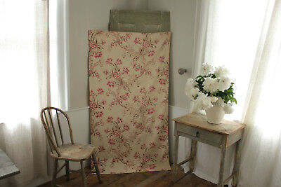 Antique French large scale floral rare width rococo cotton material large scale