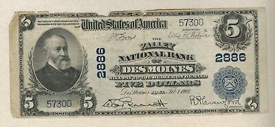 1902 Plain Back Valley National Bank Of Des Moines, Iowa $5 National Currency