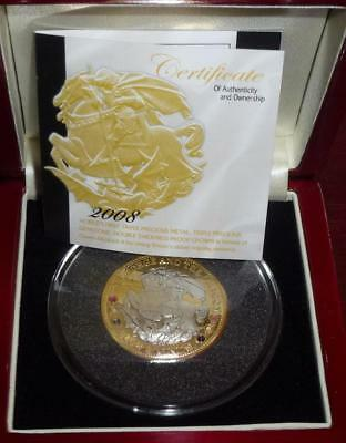 2008 SILVER 40g PROOF PIEDFORT crown (worlds 1st triple metal coin) see cert
