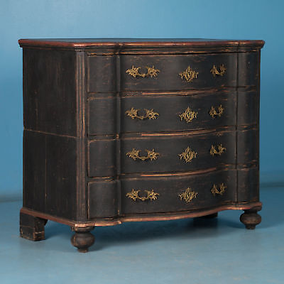 Antique Danish Baroque Chest of Drawers with Black Paint