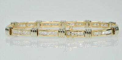 Ladies 14k Yellow & White Gold 1 3/4 Cttw Diamond Tennis Line Estate Bracelet 7""