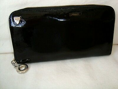 Auth Aspinal Of London Black Patent Leather Continental Purse Wallet