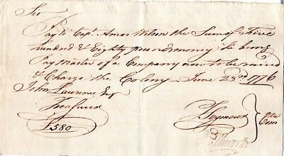 1776,Oliver Ellsworth, signed pay order, to Raise a Company of Men,
