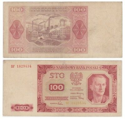 1oo Zlots Polish banknote issued in 1948 BF vf