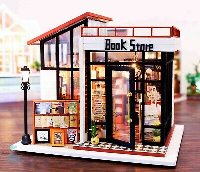 DIY Handcraft Miniature Wooden Dolls House My Local Book Store 2019