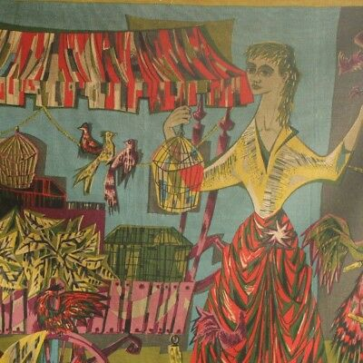 1950's French printed tapestry Robert Debieve wall hanging Bird Seller Modernist