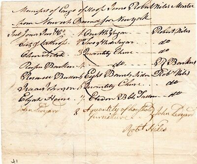 1790, Robert Niles, Privateer, Delivered Treaty to B. Franklin, signed manifest