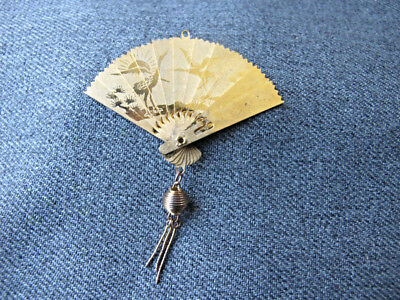 Vintage  chinese birds golden metal miniature hand fan with tassel for dolls