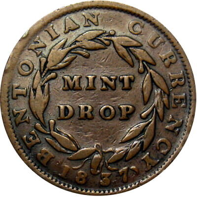 1841 Mint Drop Bentonian Currency Hard Times Token HT-64 Low 68