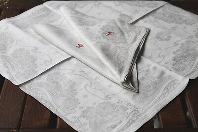 Jugendstil  Damast Tafelservietten 3 Stück um1900,Antique Napkins