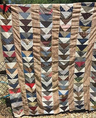 Antique mid 1800s Quilt Top ~ Flying Geese - A Study of Early Prints Hand Pcd