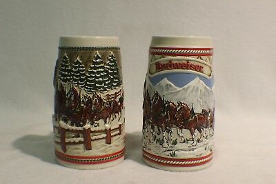 Set of 2 Budweiser Holiday Beer Steins