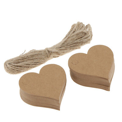 100pcs Vintage Heart Shape Paper Gift Label Tag w/ Jute Twine Wedding Favor