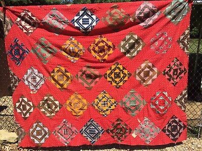 Antique mid 1800s Quilt Top ~ Square in a Sq - A Study of Early Prints Hand Pcd