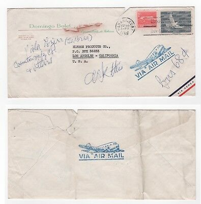 1959 CARIBBEAN Air Mail Cover HAVANA to LOS ANGELES USA Commercial BOLET Slogan
