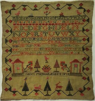 Early 19Th Century Alphabet, House & Motif Sampler By Janet Mungall Aged 8 1829