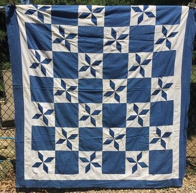 Antique mid-late 1800s Quilt Top ~  Indigo Blue 8-Pointed Stars Hand Pcd