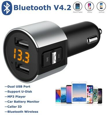 Bluetooth Wireless FM Transmitter Dual USB Car Charger MP3 Player for iPhone X 8