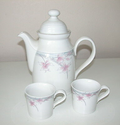 Royal Doulton Lambethware Fresh Flowers Mayfair Coffee  Pot & 2 Sm Coffee Cups