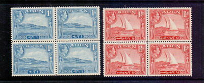 ADEN 1939 1a PALE BLUE & 1½a SCARLET SG18-9 IN MNH BLOCKS OF 4 CAT £19