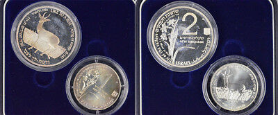"1992 State Of Israel ""holy Land Wildlife"" / Song Of Solomon 2Ns & 1Ns Silver Set"