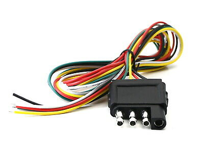 """(1) 40"""" Extra Long 4-Way Flat Trailer End Adapter Connector Wire For Tow Lights"""