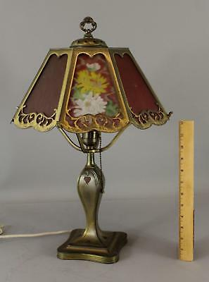 Antique Signed, Pairpoint B3007 Reversed Painted 8-Panel Glass Table Lamp, NR