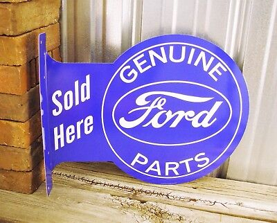 Ford Flange Genuine Parts Sold Here Metal Tin Sign Vintage Style Garage Man Cave