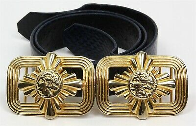"""1986 MIMI DI N Gold Electroplated BELT BUCKLE w/BLUE REPTILE LEATHER BELT 29"""""""