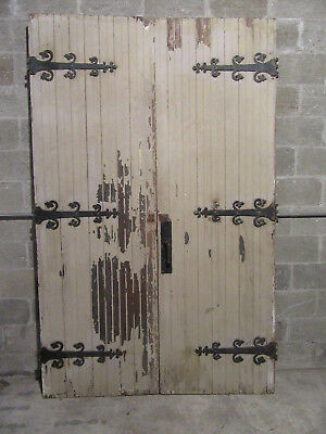 ~ Antique Gothic Double Entrance French Doors Strap Hinges 60 X 95 ~ Salvage