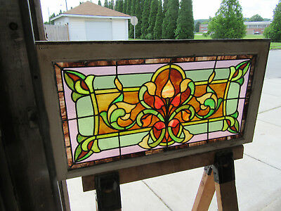 Antique Stained Glass Transom Window ~ 36 X 19 ~1 Of 2 ~ Architectural Salvage
