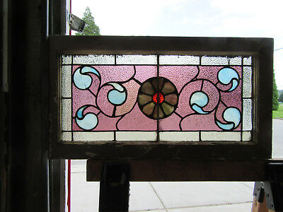 ~ ANTIQUE STAINED GLASS TRANSOM WINDOW ~ 30 x 16 ~ ARCHITECTURAL SALVAGE