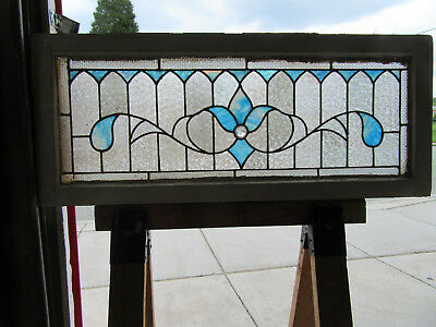 ~ ANTIQUE STAINED GLASS TRANSOM WINDOW ~ 43 x 18 ~ ARCHITECTURAL SALVAGE