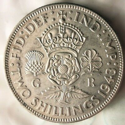 1943 GREAT BRITAIN FLORIN - AU - WW2 - QUALITY Vintage Silver Coin - Lot #615