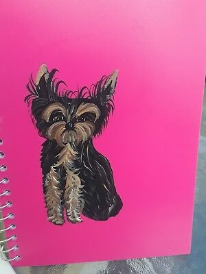 Hand Painted art Yorkshire Terrier YORKIE dog art   hot pink notebook beautiful!