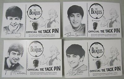 Lot Of 4 1964 The Beatles Official Tie Tack Pins On Cards Paul John George Ringo
