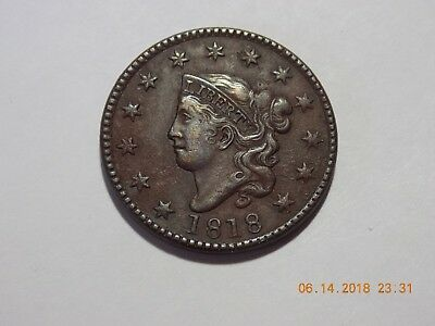 1818 Coronet Head Large Cent - VF Condition