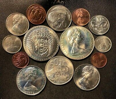 Old New Zealand Coin Lot - 1972 - 14 UNC COINS from Mint Sets - Lot #615