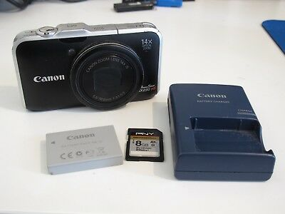 Canon PowerShot SX230 HS Camera w/ Battery, Charger & 8 GB SD Card Great Shape