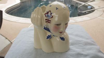 CATALINA POTTERY C801 Lady Head VASE with Painted Scarf and Face  EUC