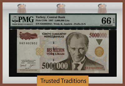 "TT PK 210b 1997 TURKEY 5 MILLION LIRA ""PRESIDENT ATATURK"" PMG 66 EPQ GEM UNC!"