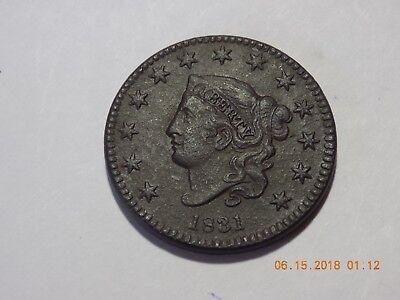 1831 Coronet Head Large Cent - Medium Letters - VF Condition