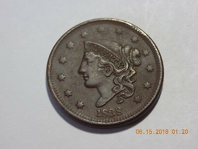 1838 Coronet Head Large Cent - VF Condition