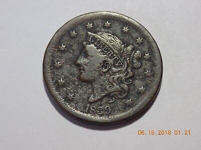 1839 Coronet Head Large Cent - Head of 1838 - VG Condition