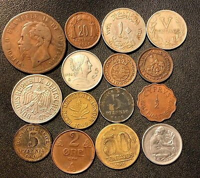 Vintage WORLD Coin Lot - 1867-1950- 15 Collectible World Coins - Lot #615