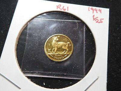 R61 Isle of Man 1994 GOLD 1/25 Oz. Japanese Bobtail Crown Proof In Original Seal