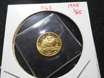 R63 Isle of Man 1995 GOLD 1/25 Oz. Turkish Cat Crown Proof In Original Seal