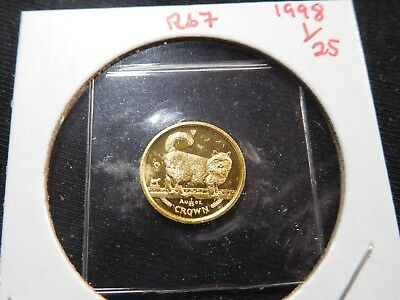 R67 Isle of Man 1998 GOLD 1/25 Oz. Birman Cat Crown Proof In Original Seal