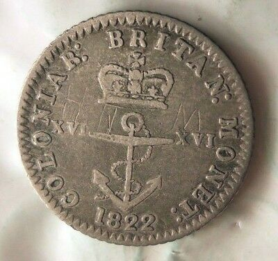 1822 BRITISH WEST INDIES 1/16 DOLLAR - Huge Value Rare Silver Coin - Lot #519