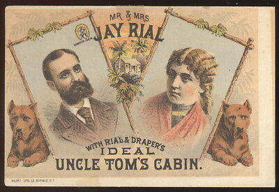 1880S Opera House Advertising Card, Mr & Mrs Jay Rial, Uncle Tom's Cabin